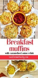 Breakfast muffins with text overlay