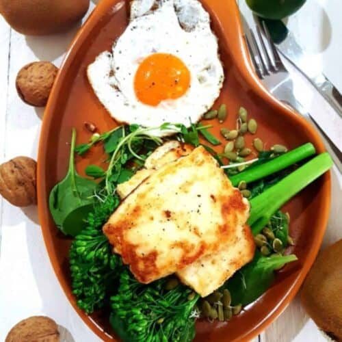 Haloumi and Greens with Fried Egg on a retro plate