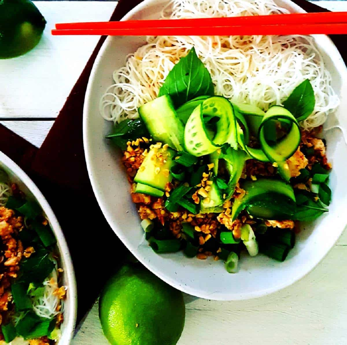 Chilli Lime Chicken Larb in a white bowl