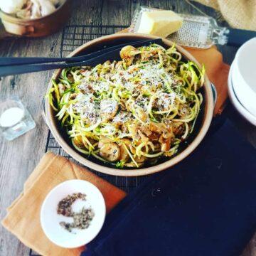 Mushroom Zucchini Spaghetti in a large black bowl