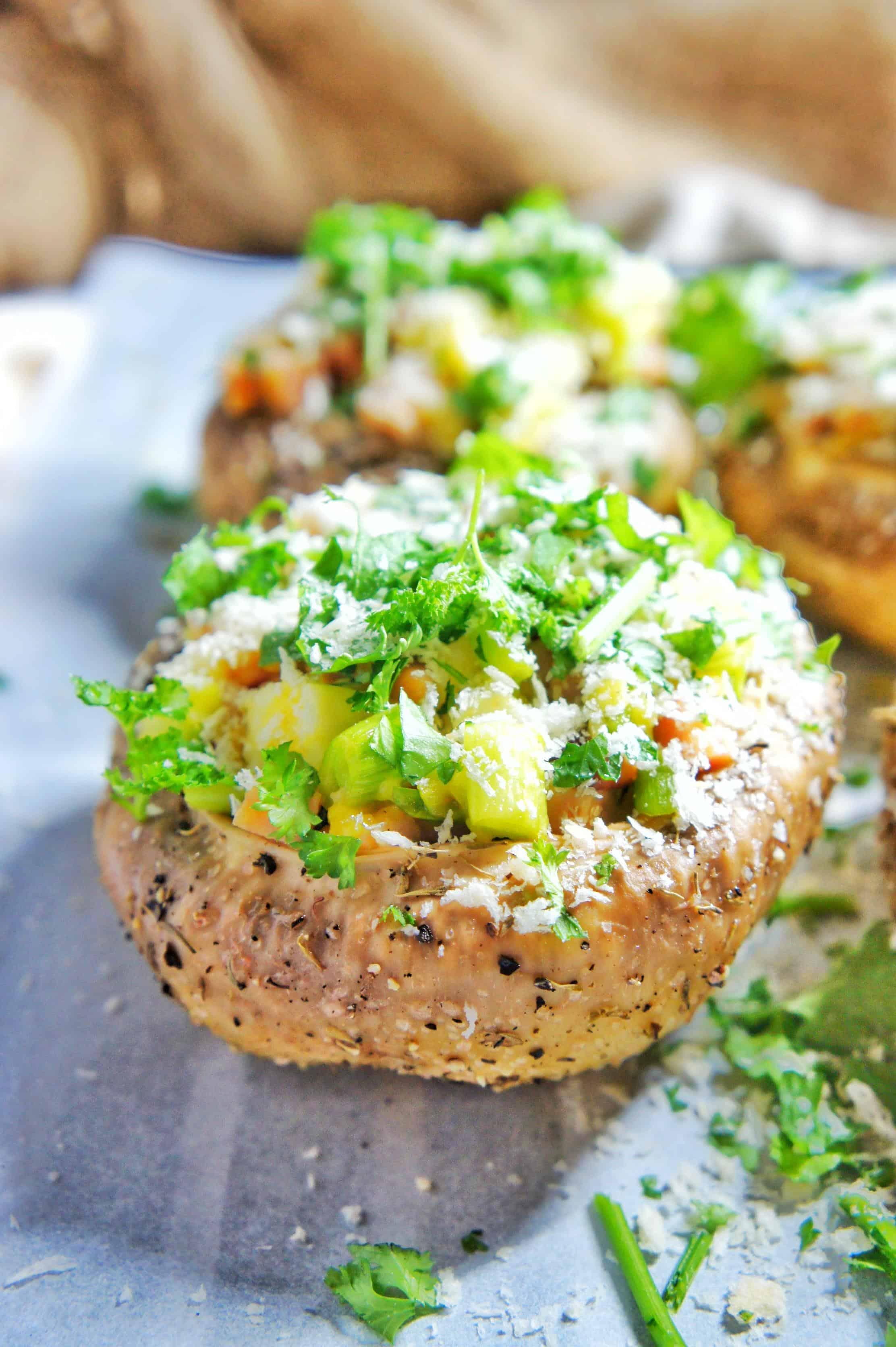 Baked Stuffed Flat Mushrooms 2 | Sweet Caramel Sunday