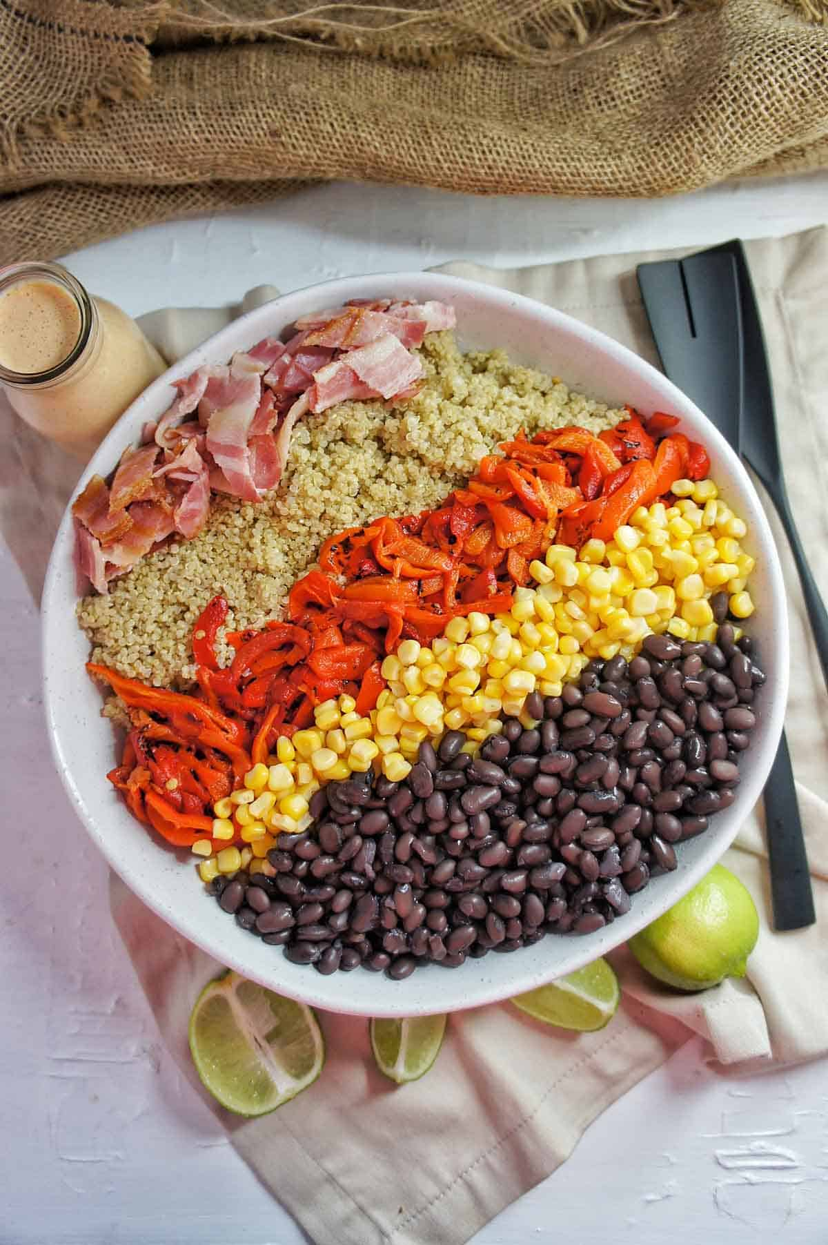 Mexican Quinoa Salad in a large white bowl