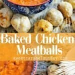 Baked Chicken Meatballs with text overlay