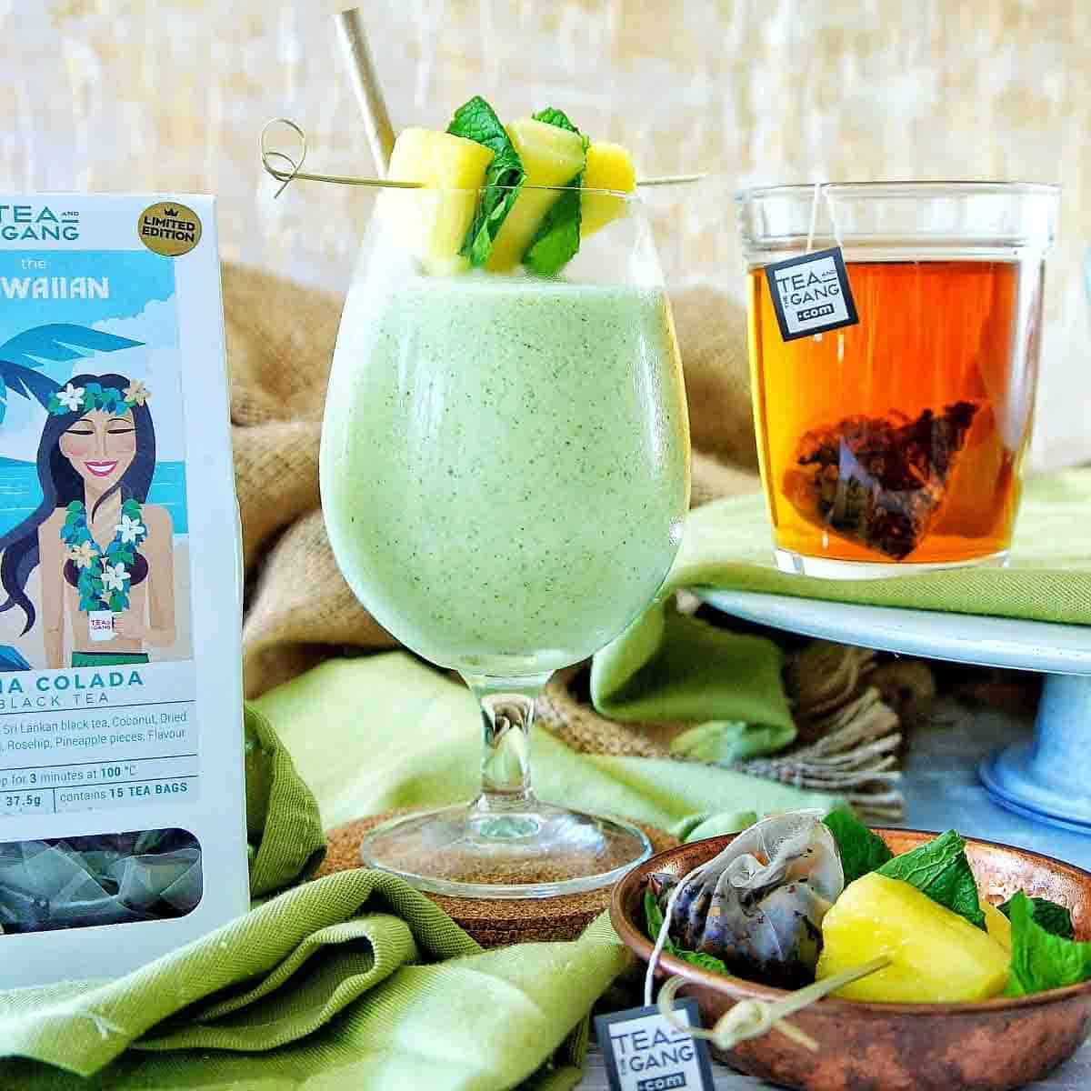 Pina Colada Smoothie with pineapple garnish