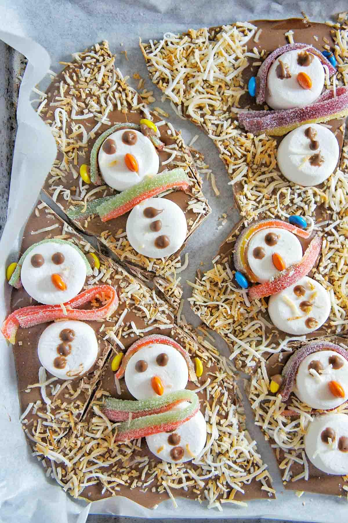 Snowman Chocolate Bark 22 | Sweet Caramel Sunday