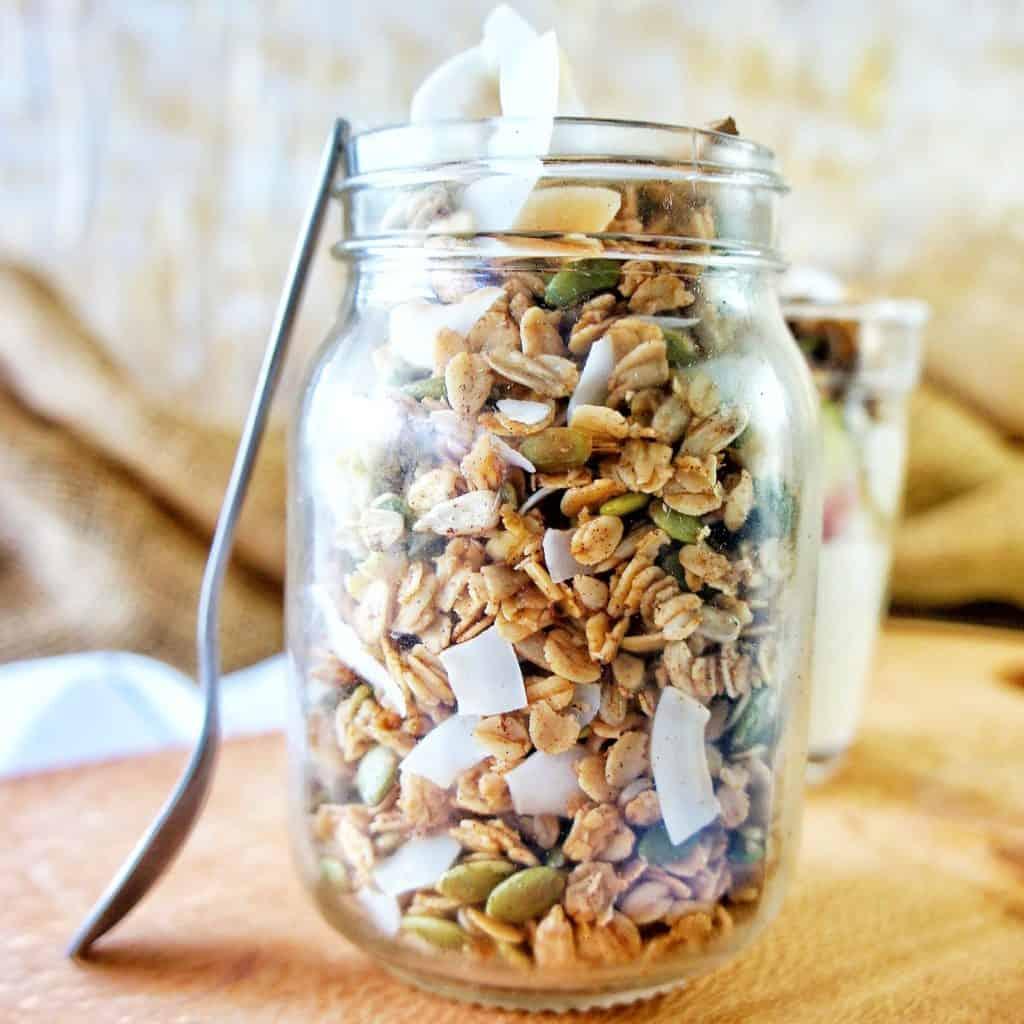 Homemade Coconut Granola in a glass jar