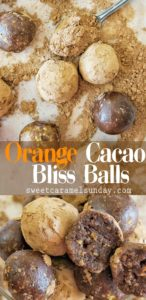 Orange Cacao Bliss Balls with text overlay
