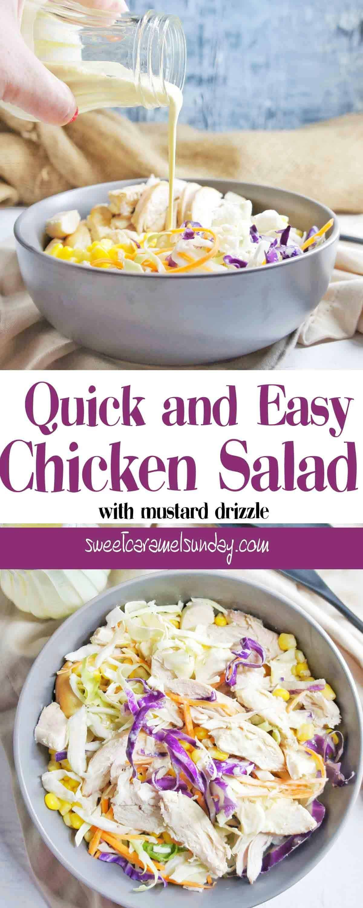 Chicken Salad in a grey bowl with dressing being poured over it