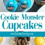 Cookie Monster Cupcakes on a blue plate with text overlay