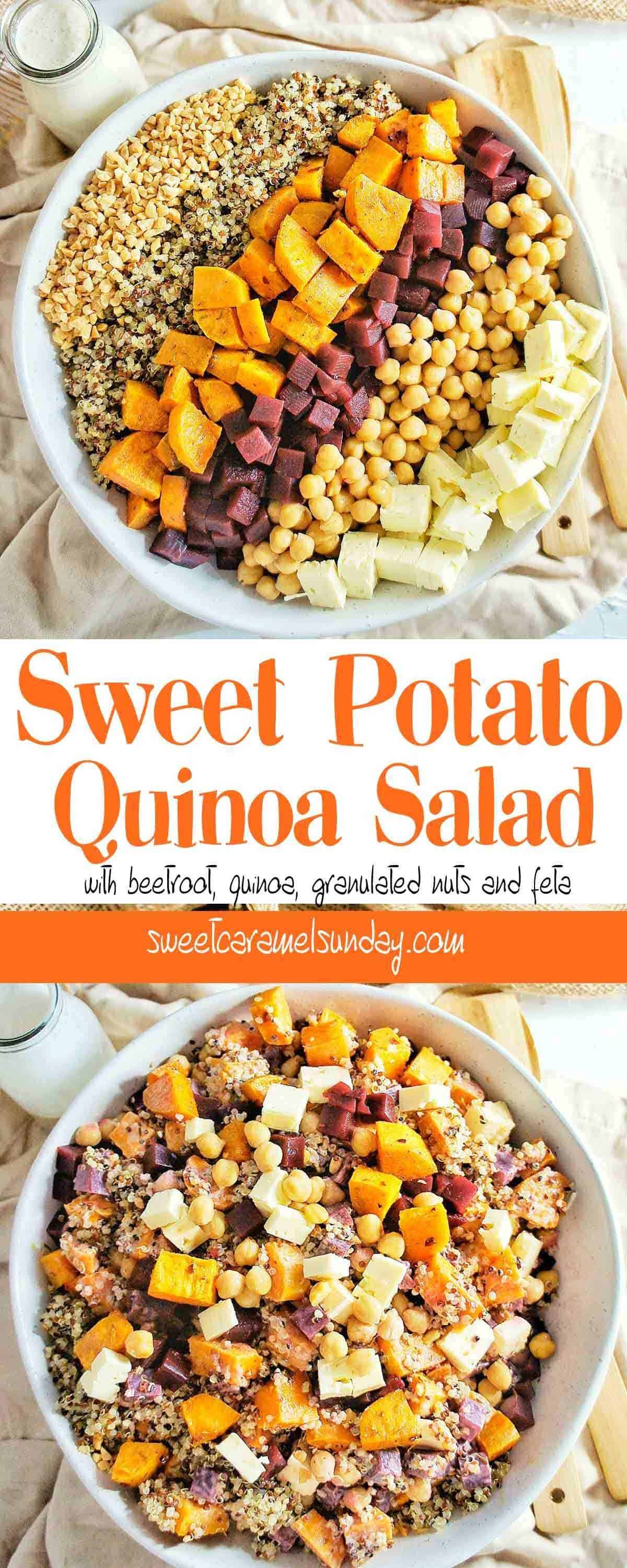 Sweet Potato Quinoa Salad in a white bowl with text overlay