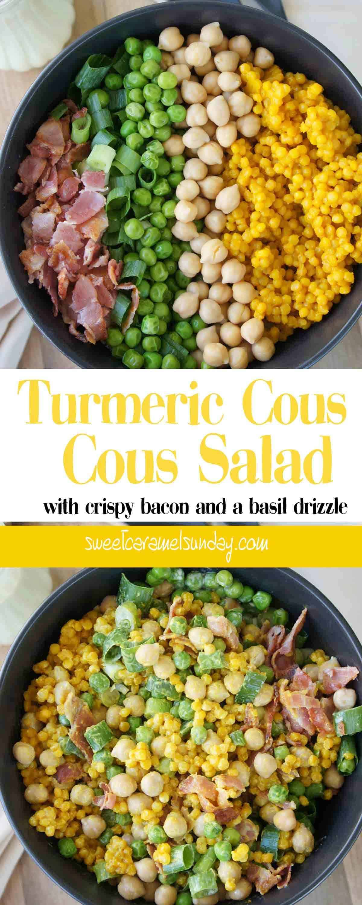 Turmeric Cous Cous Salad in a black bowl