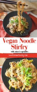 Brown rice noodle stir fry with text overlay