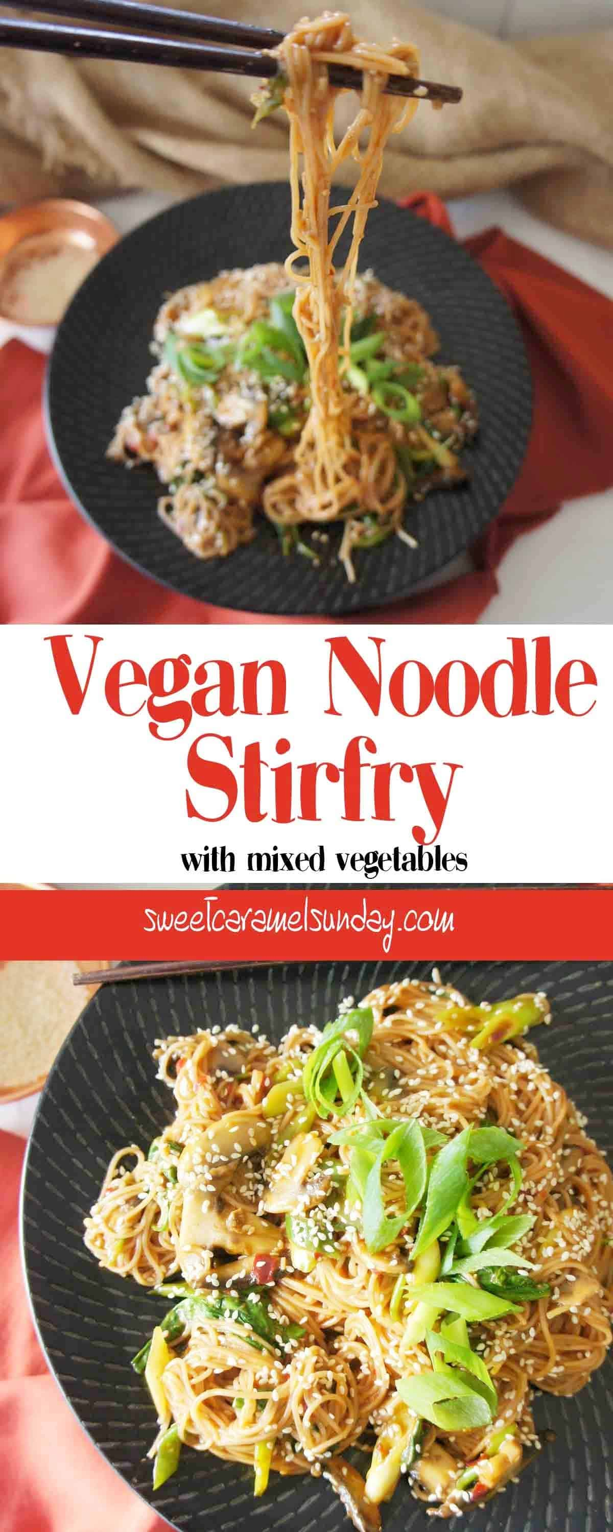 Vegan Noodle Stirfry with text overlay