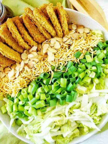 Vegan Schnitzel Salad in a large white bowl