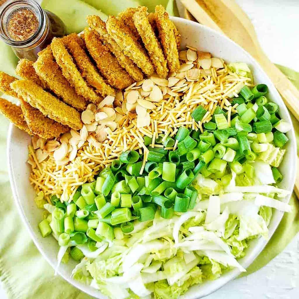 Vegan Schnitzel Salad in a large white bowl