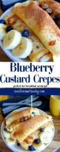 Blueberry Custard Crepes on a white plate with fresh custard