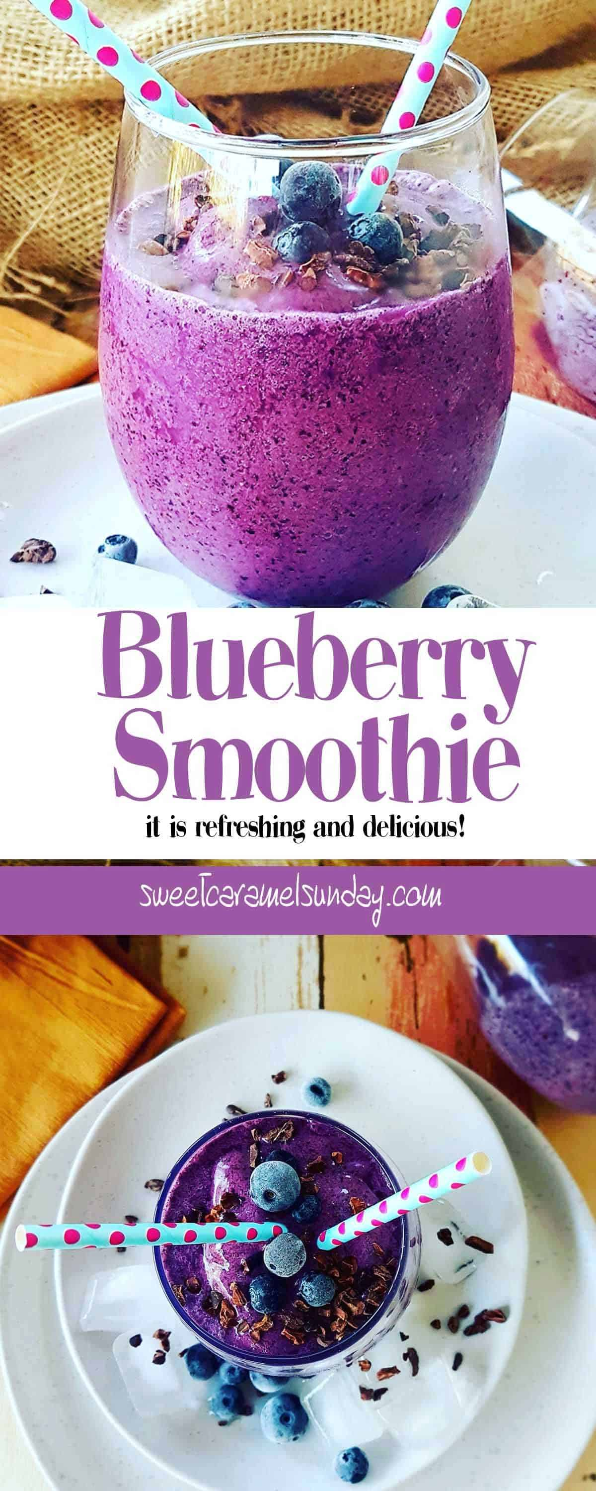 Blueberry Smoothie in a short glass with a blue straw and text overlay