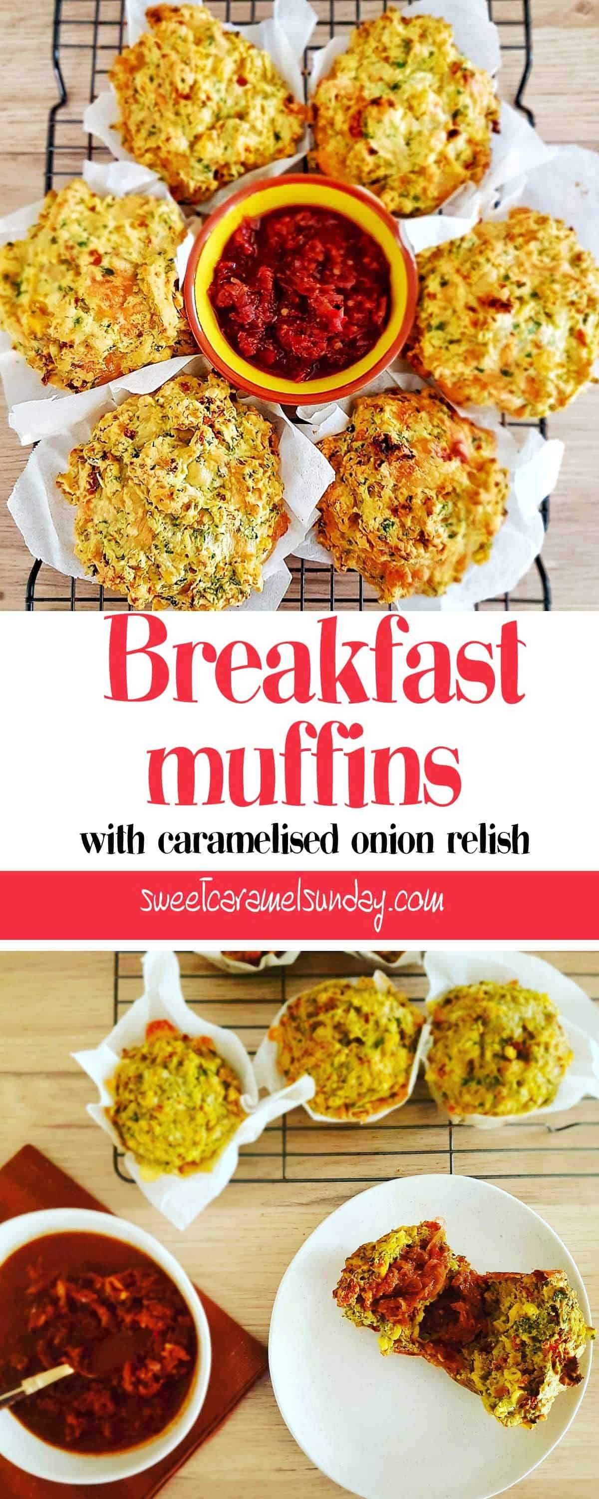 Breakfast Muffins with a savoury relish and text overlay