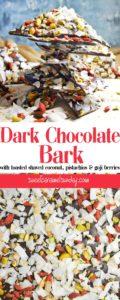 Dark Chocolate Bark with text overlay