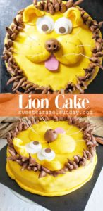 Lion Cake with text overlay