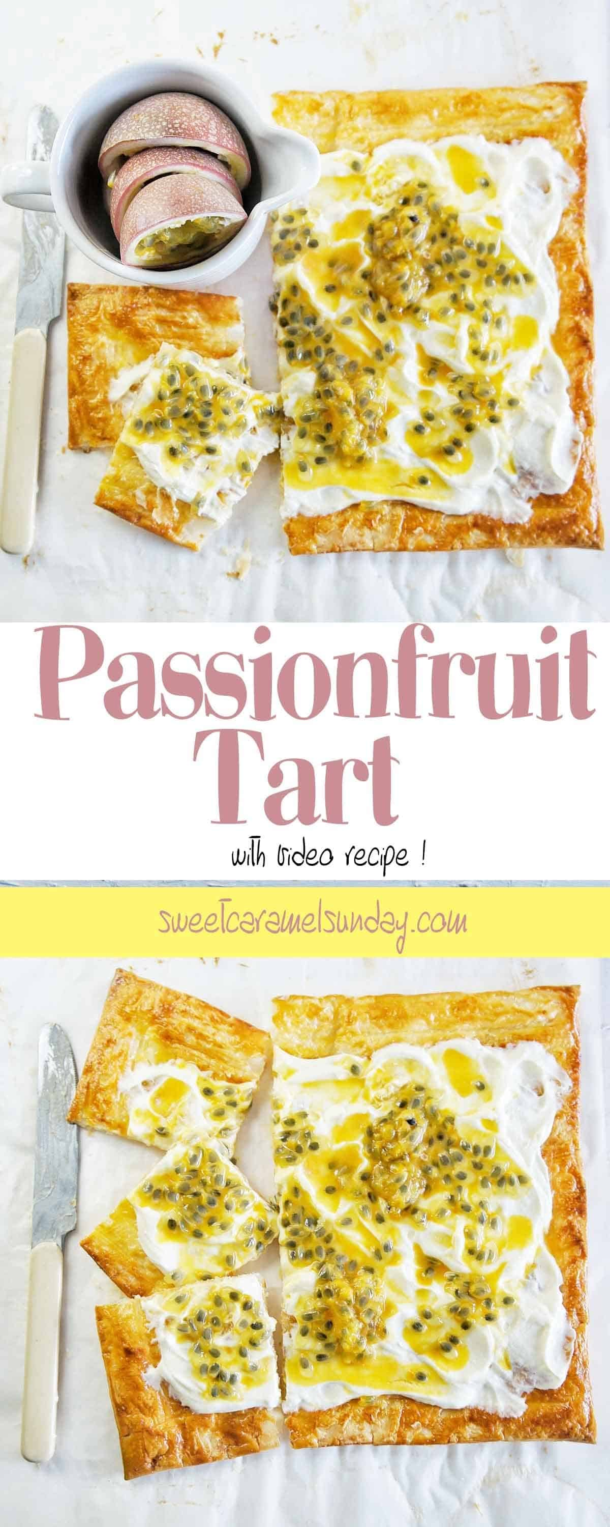 Passionfruit Tart on a white background with text overlay
