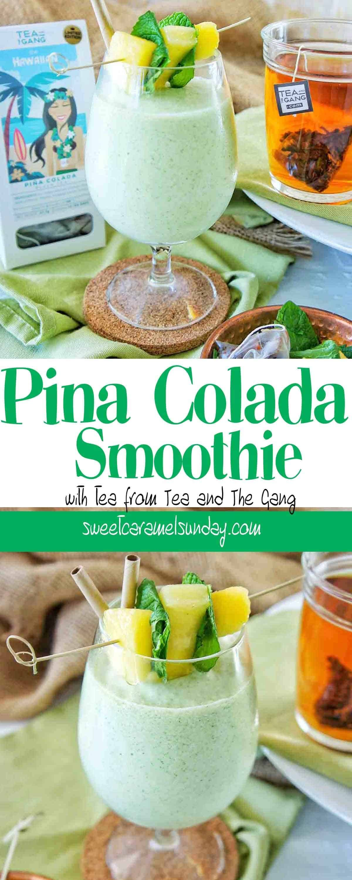 Pina Colada Smoothie in a glass with a straw and pineapple garnish