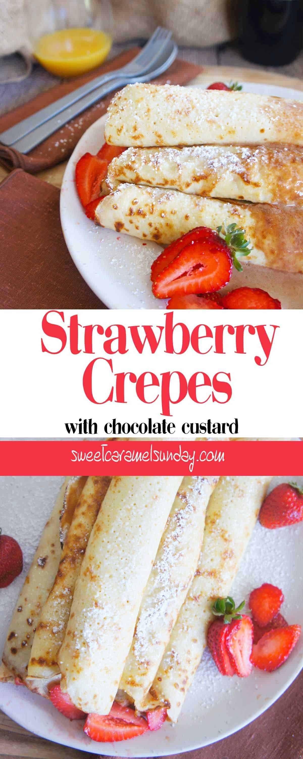 Strawberry crepes on a white plate with text overlay