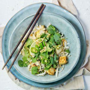 Tofu Pad Thai with chopsticks cropped photo