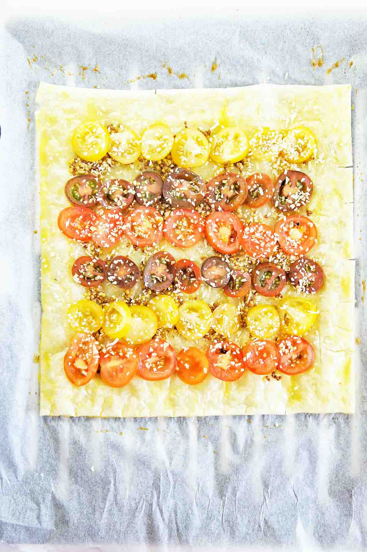 Tomato tart before being put in the oven