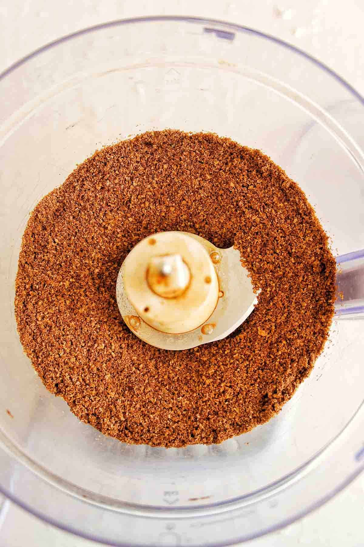 Weet Bix, coconut and cacao powder mixed in a food processor