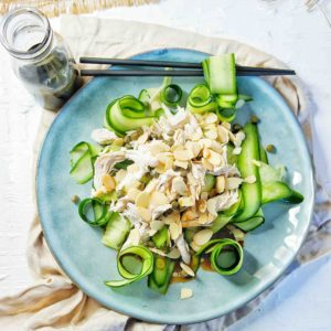 Chicken Cucumber Salad on a blue plate