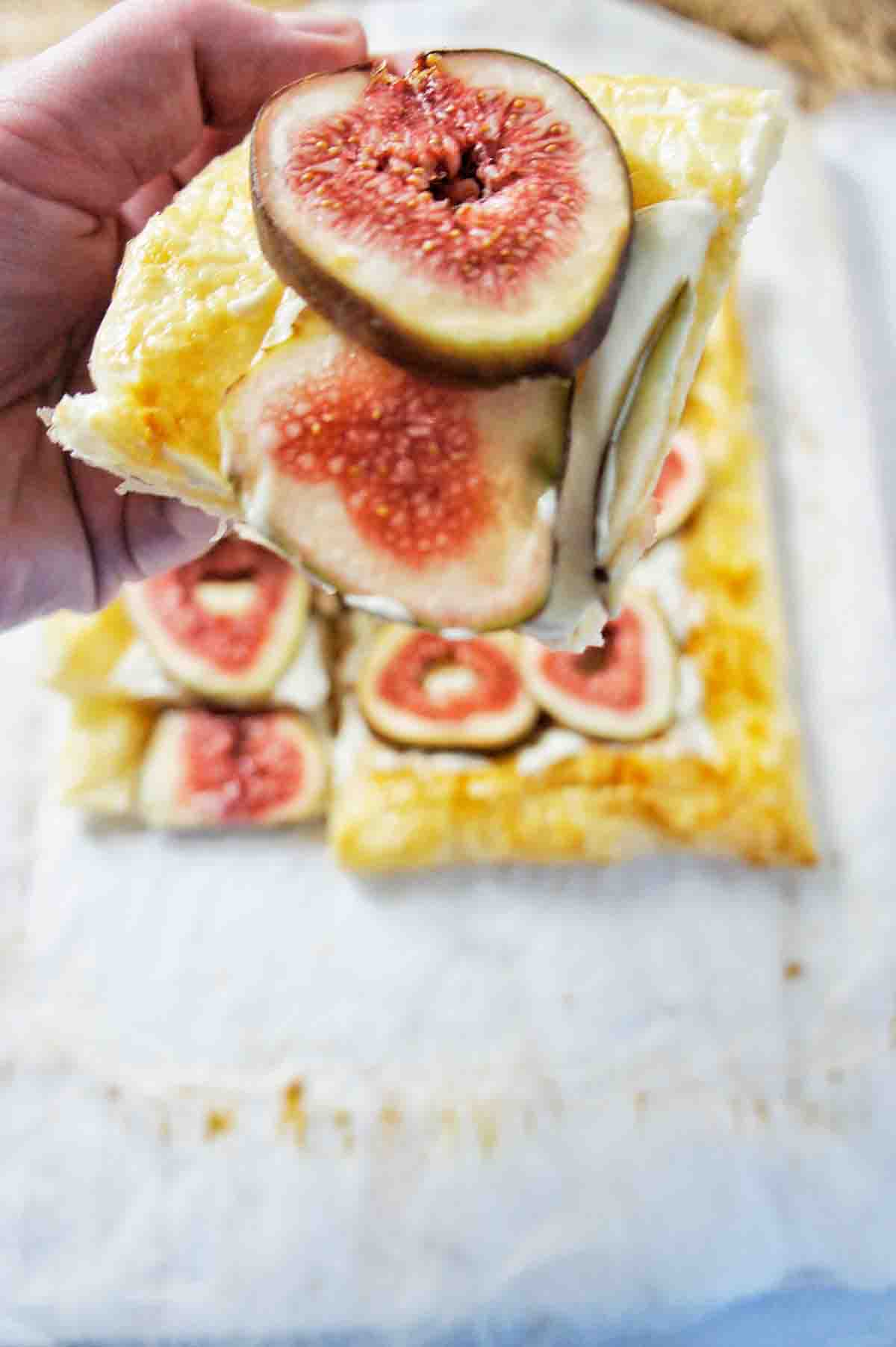 Fig Tart Close up shot of piece of tart