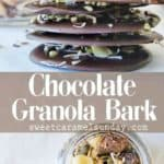 Chocolate Granola Bark with text overlay