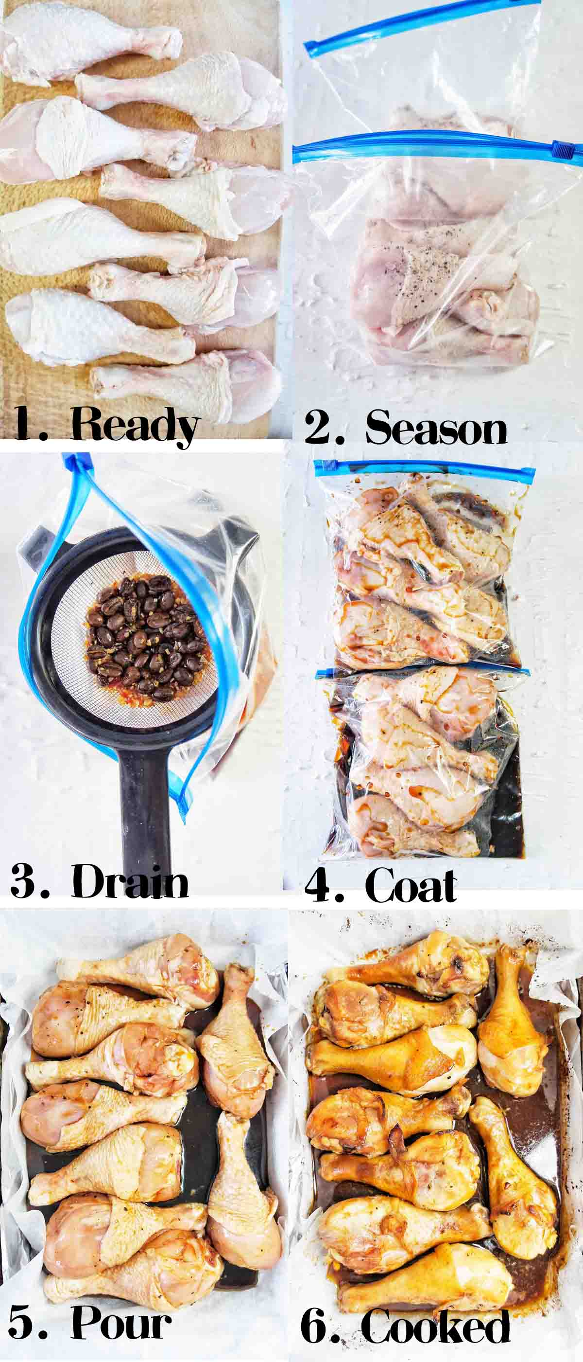 Pimped Chicken Drumstick recipe steps with text overlay