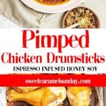 Pimped Chicken Drumsticks with text overlay