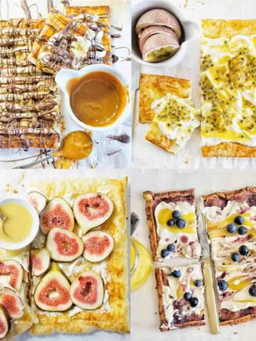 Puff Pastry Tart Recipes showing 4 sweet tarts on white backgrounds