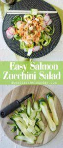 Salmon Zucchini Salad with text overlay