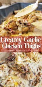 Creamy Garlic Chicken Thighs with Text overlay