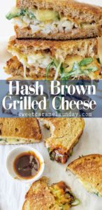 Hash Brown Grilled Cheese with text overlay