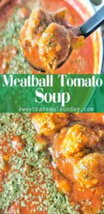 Meatball Tomato Soup with text overlay