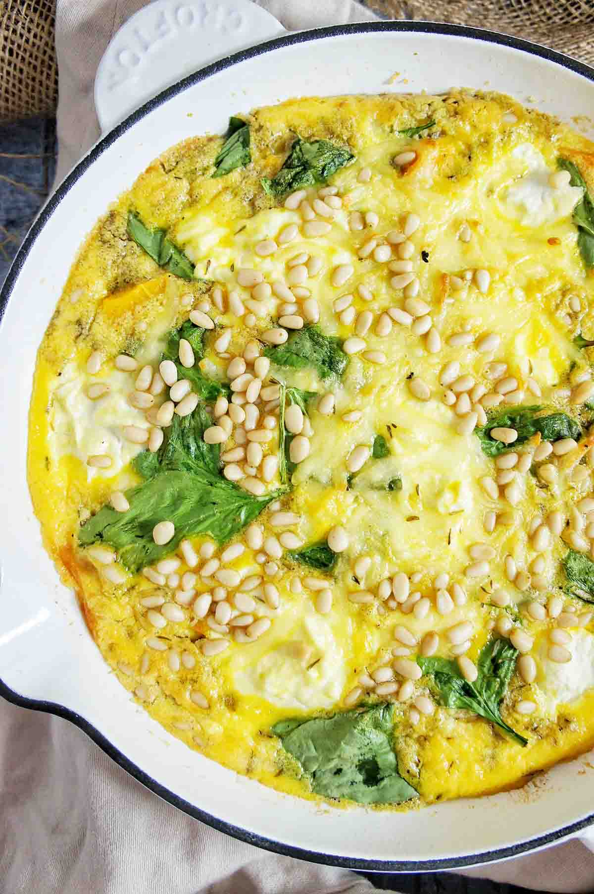 Close up of cooked pumpkin frittata