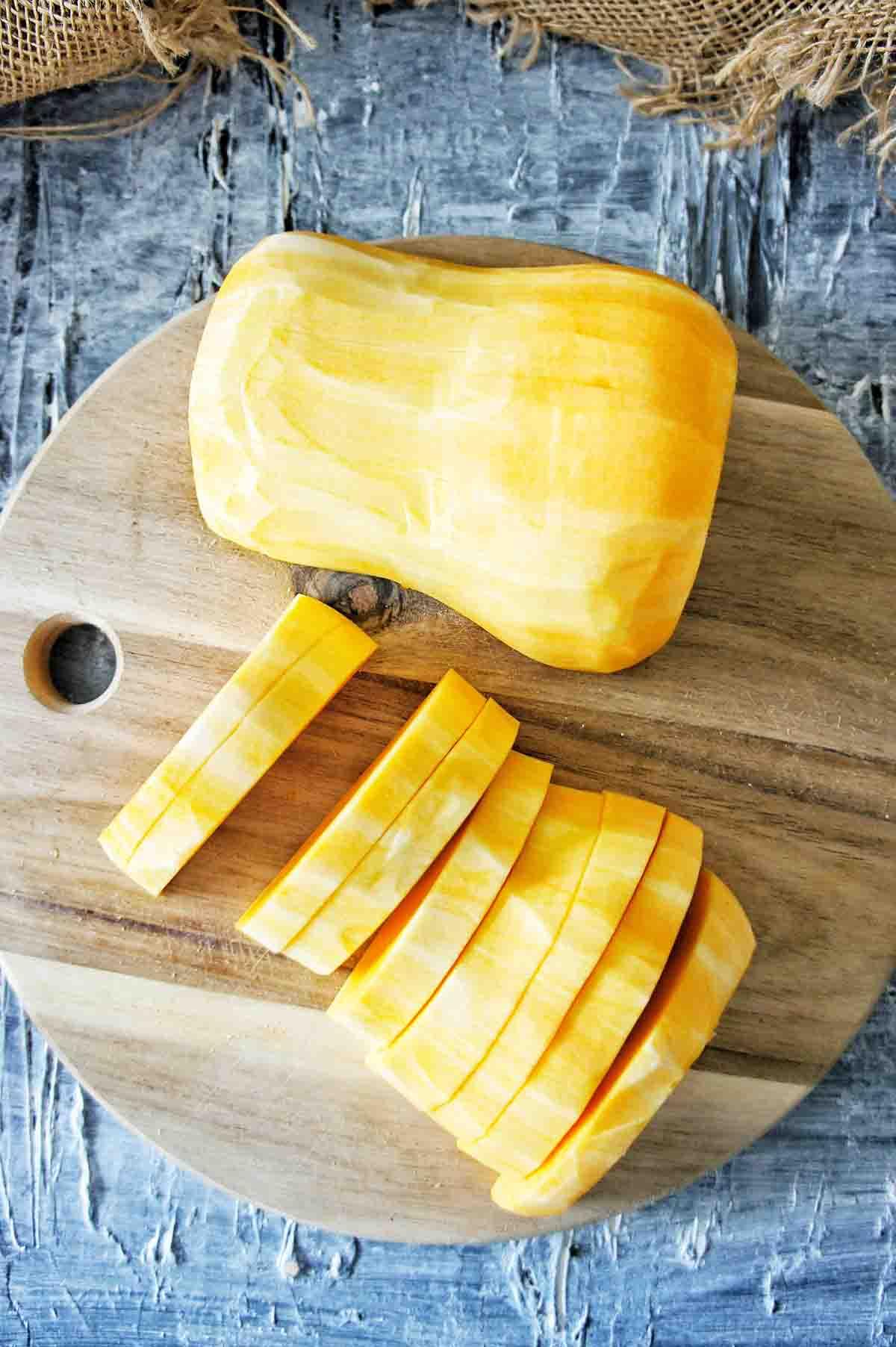 Pumpkin being prepared sliced for frittata