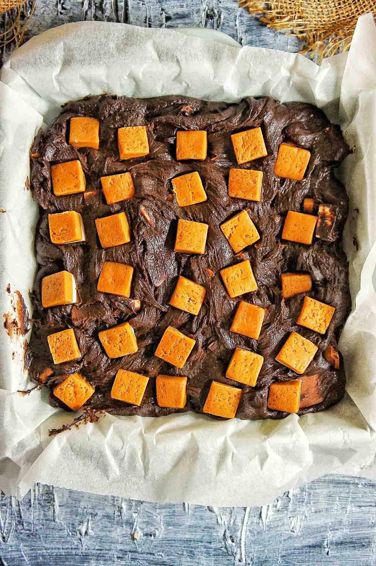 Triple Caramel Brownie Batter in baking dish