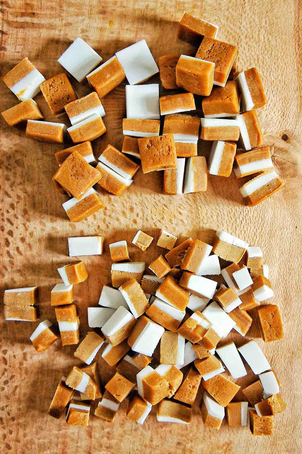 Caramels cut into pieces for caramel brownies