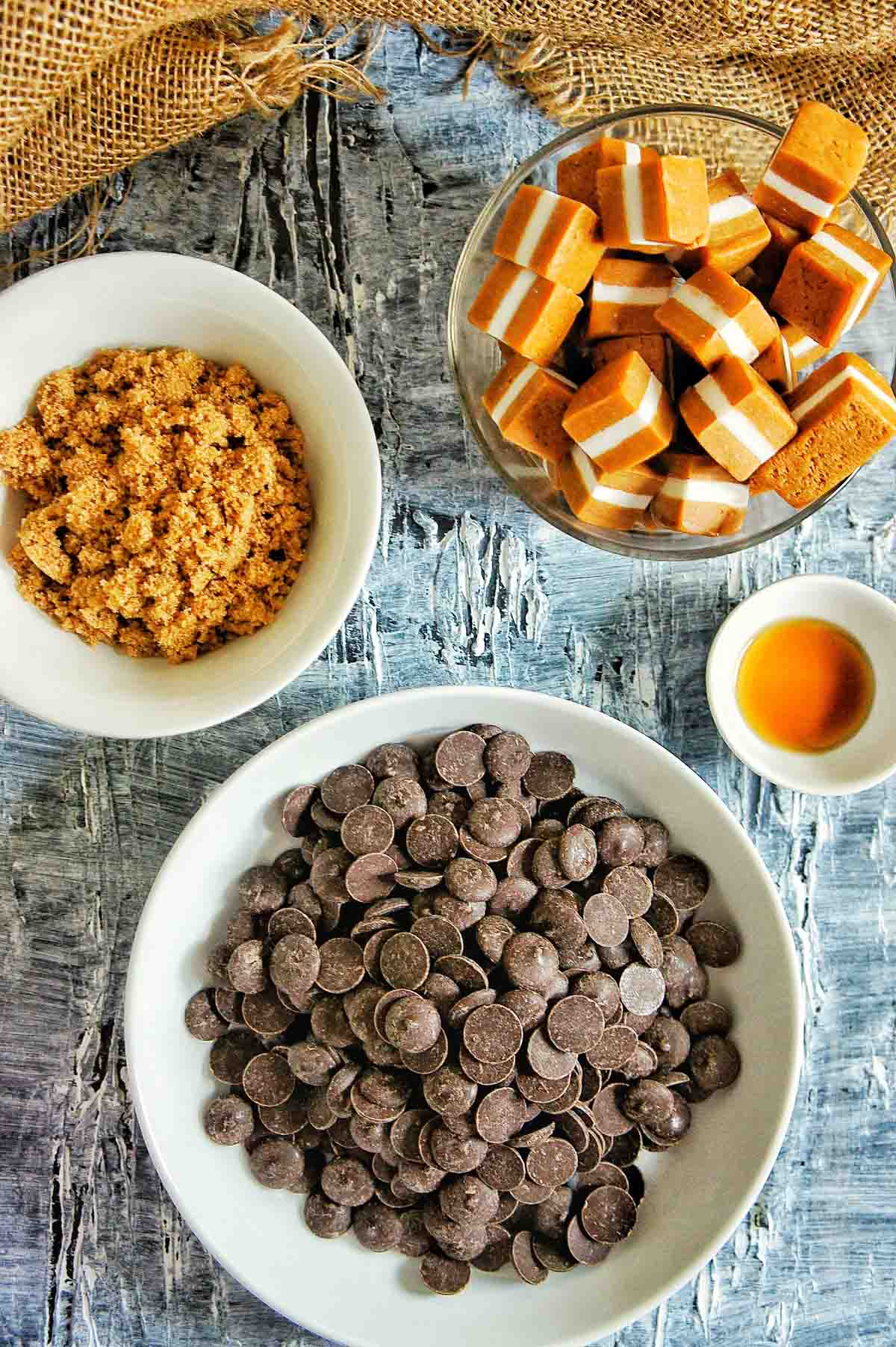 Ingredients laid out for triple caramel chocolate brownies
