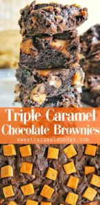 Triple Caramel Chocolate Brownies with text overlay