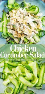 Chicken Cucumber Salad on blue plate