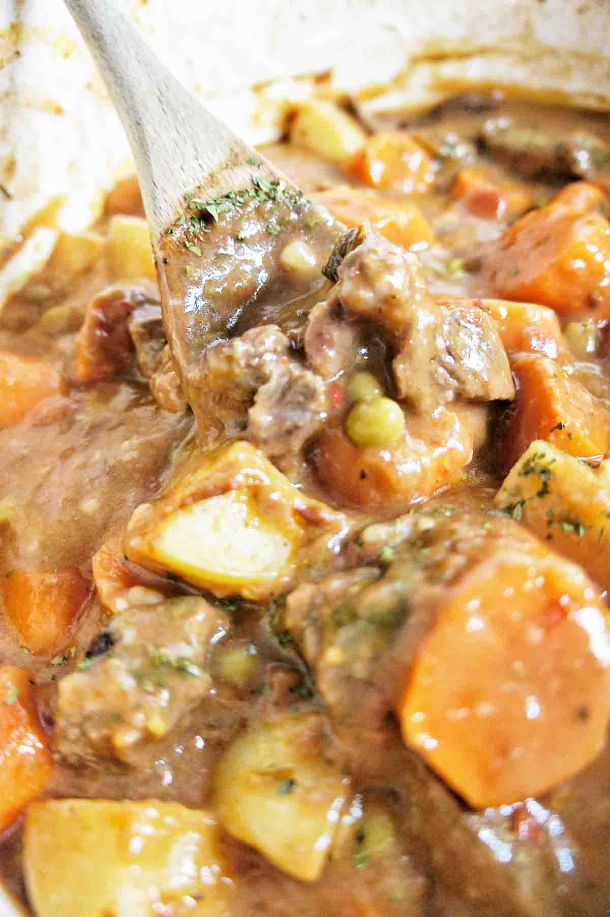 Easy Chunky Beef Shew with large spoon in stew