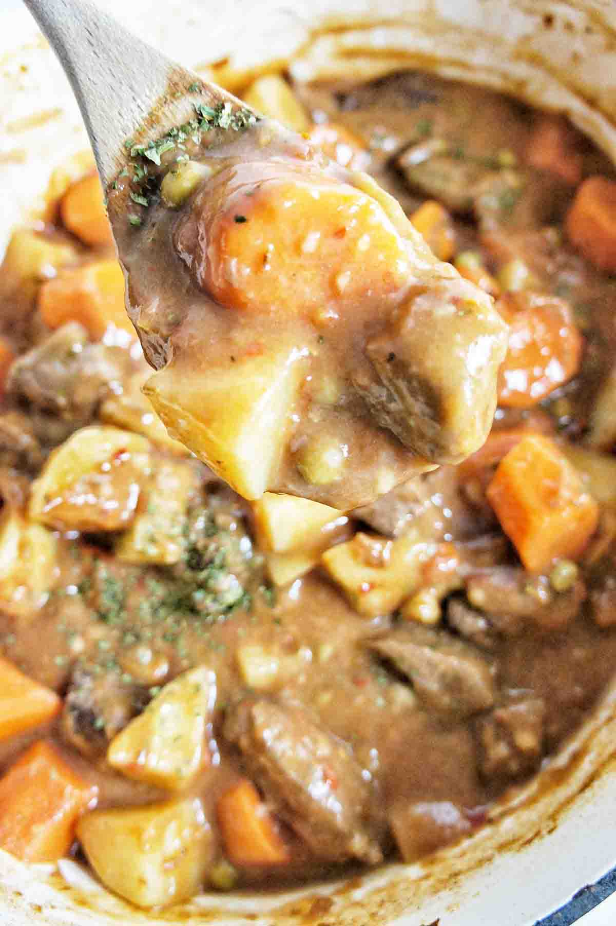 Chunky Beef Stew with spoon showing thick ingredients
