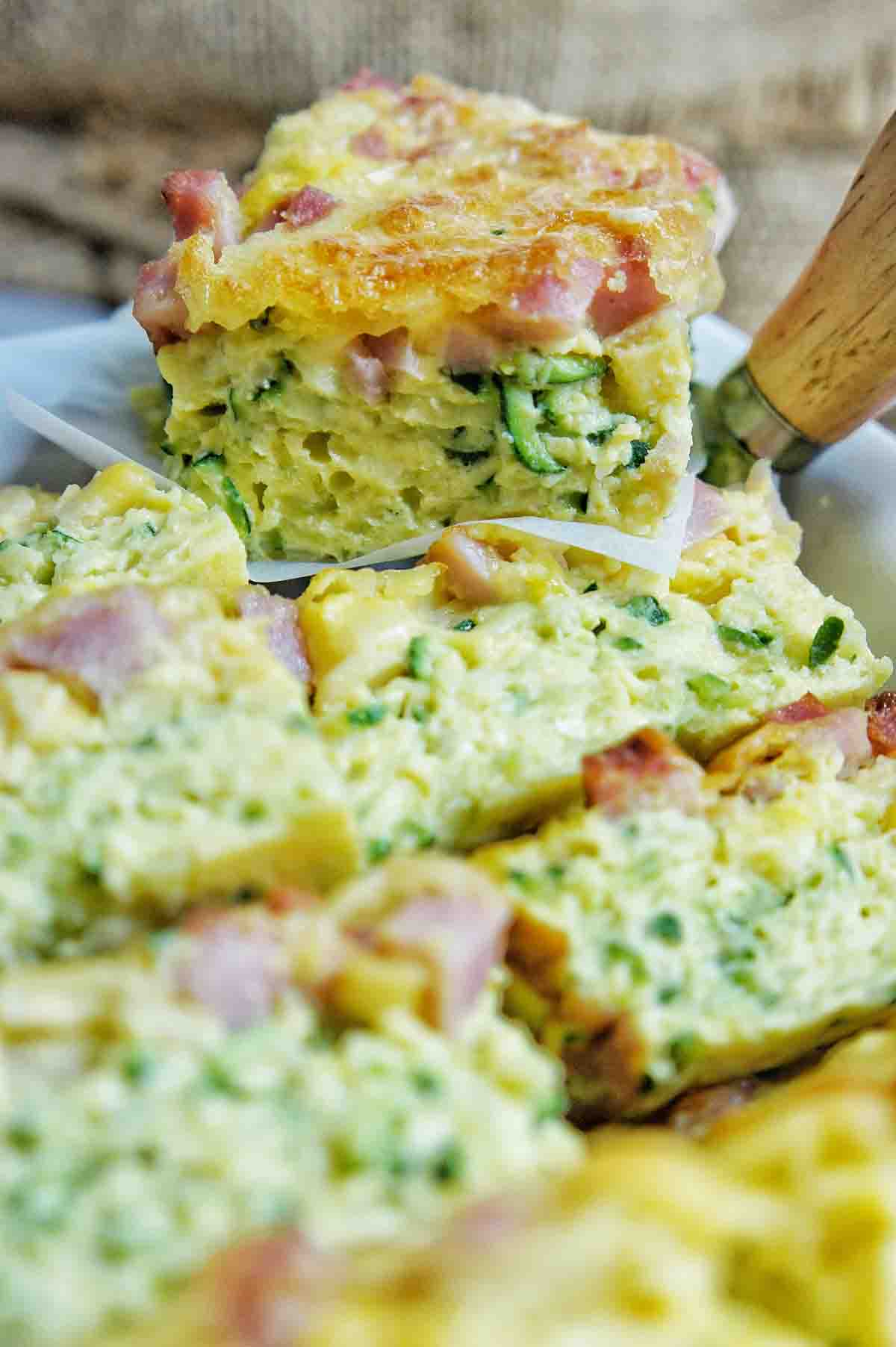 Side on image of gluten free zucchini slice